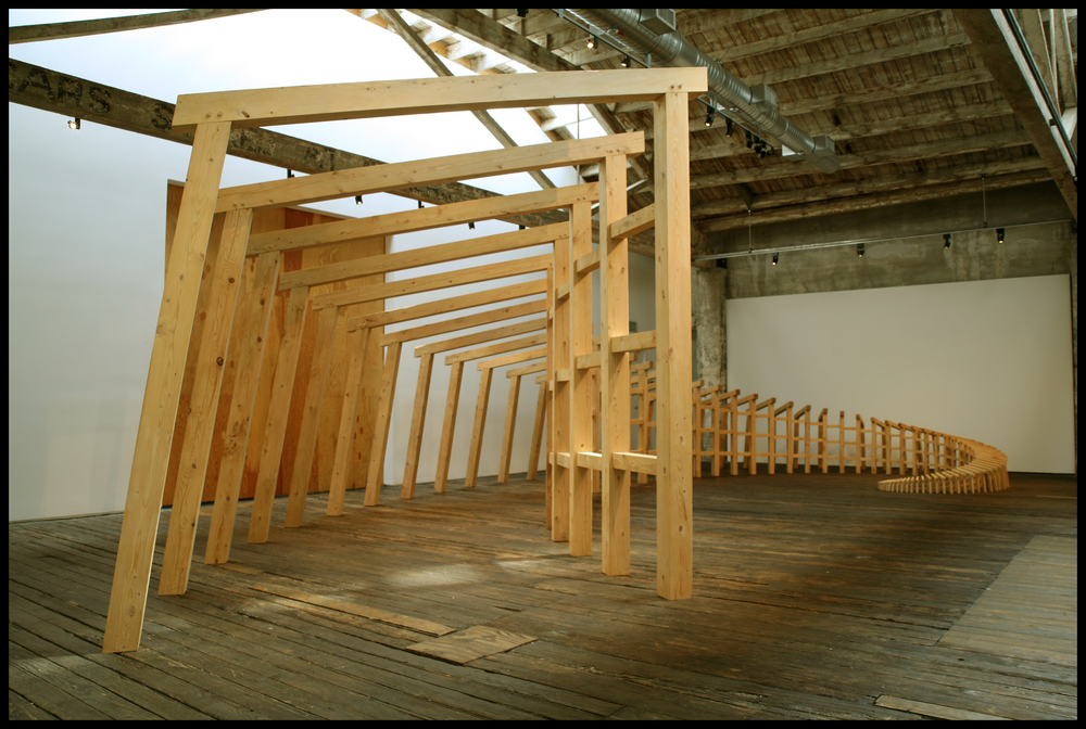 All things long to persist in their being., 2006, hemlock, approx. 11' x 25' x 35' Site-specific installation, Suyama Space, Seattle, WA