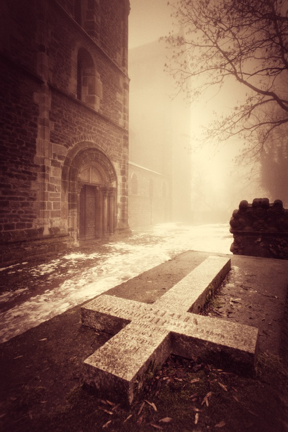 Cross down - Monastery in Fog