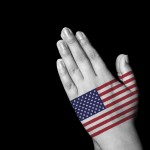 Praying Hands with American Flag graphic