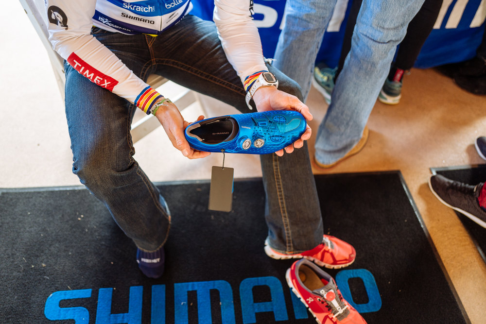 Shimano was sizing shoes including their new S-Phyre road shoe and triathlon TR line. Several athletes will be racing in the S-Phyre RC9 this year.