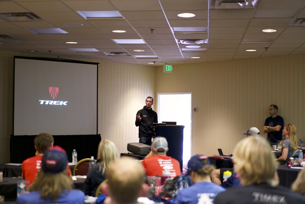 The Trek Race Shop crew of Ryan and Mark were on hand to talk bikes, tech, and brand.