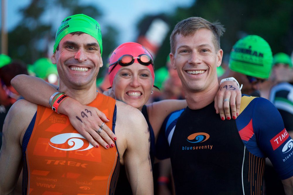 Craig, Emily, and Derk before the swim start