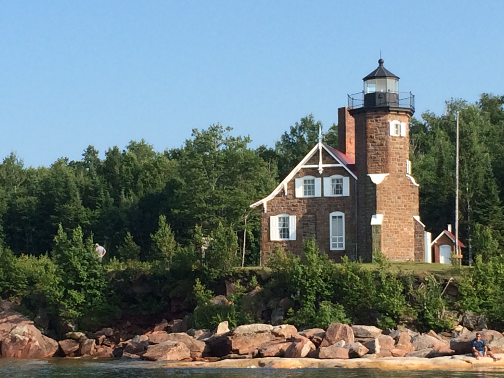 Original Michigan Island Lighthouse, Photograph courtesy Wisconsin Historical Society