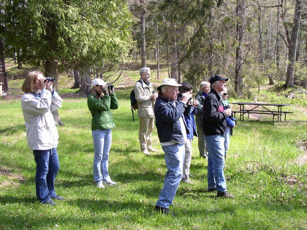 May-2003 annual bird hike;  MIWP founding member, Bob Coffin, at center
