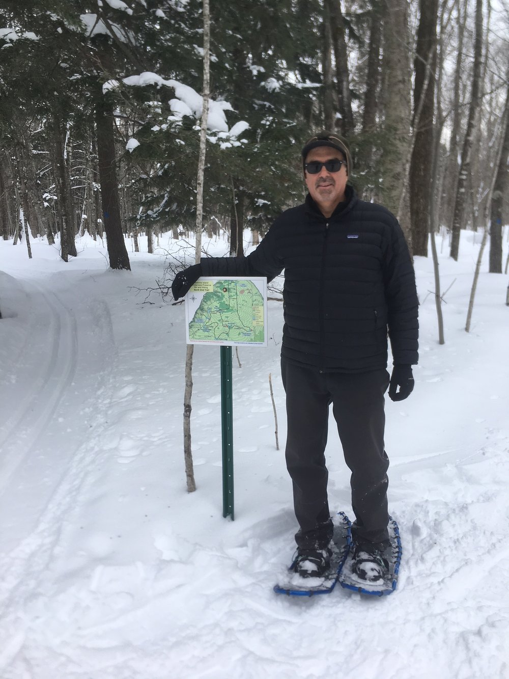 MIWP President, Fred Koerschner, snowshoeing the Preserve's North End Trails