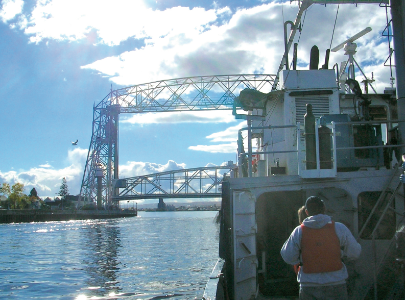 The LLO Research Vessel Blue Heron entering the Duluth Harbor