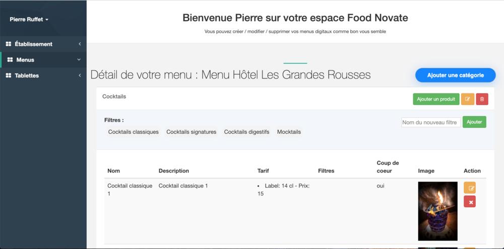 Ajouter un produit - food novate - menu sur tablette tactile pour restaurants bars hotels