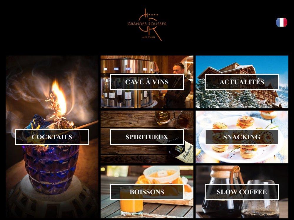 Hotel Grandes Rousses Alpe d'Huez menus sur ipad.jpg