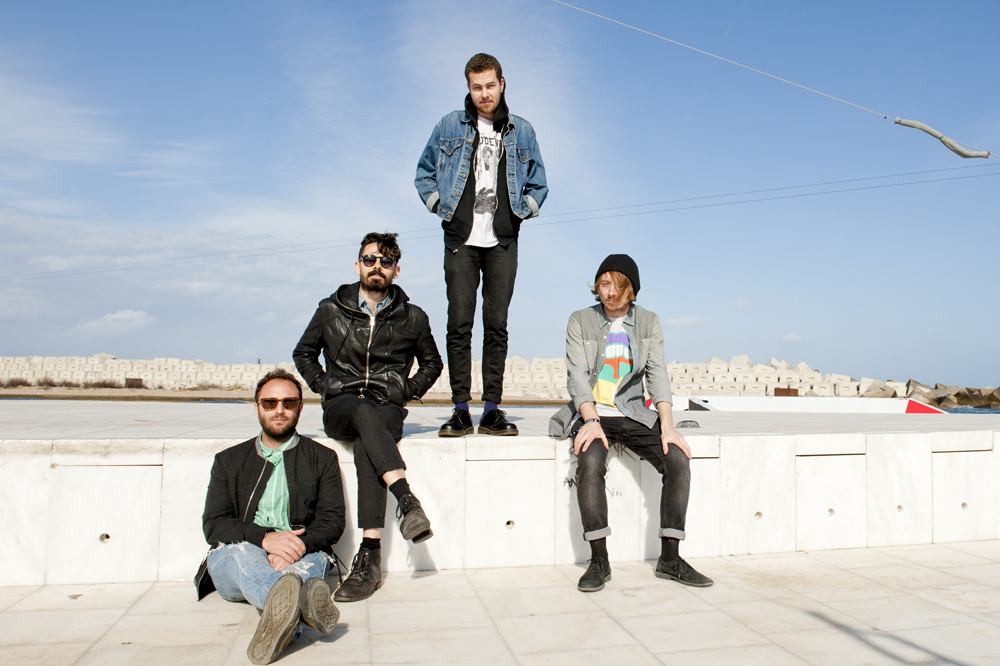 Local Natives posing backstage at Primavera on the 24th of May 2013