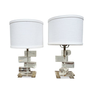 Pair of Vintage Lucite Lamps