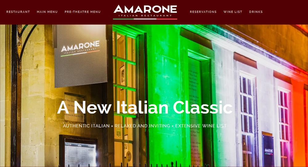 Lansdown Ventures Web Design - Amarone Restaurant