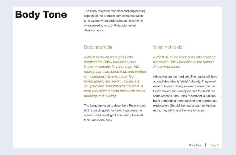 Rolex: tone of voice