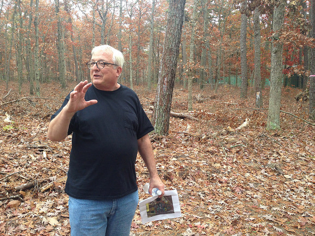 Dr. George Zimmerman explaining the forest management plan on Stockton University's campus. Photo by Inga La Puma