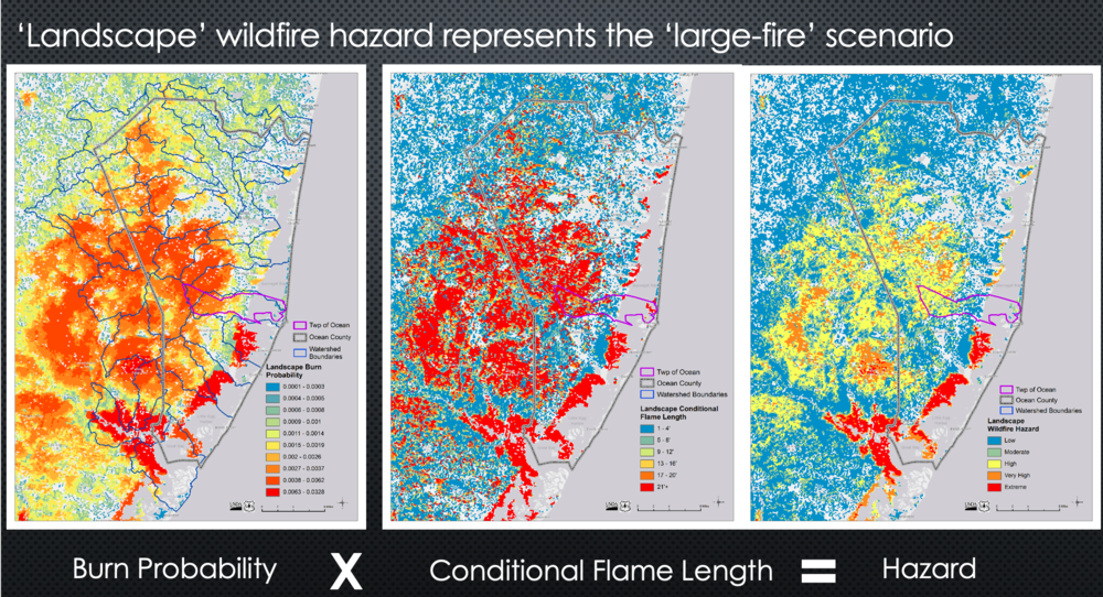 Wildfire hazard maps created by Eva Karau for the CPAW program in Ocean Township, NJ.