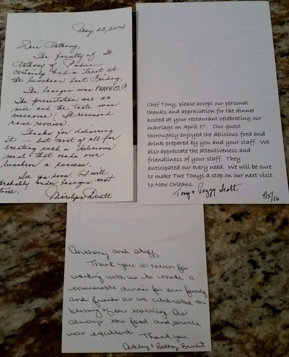 Above are some recent letters of gratitude from our cherished customers. Read the transcribed letters below.