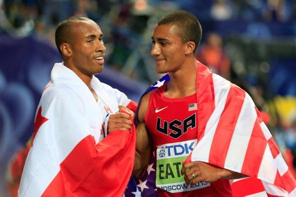 Damian Warner with Ashton Eaton on right