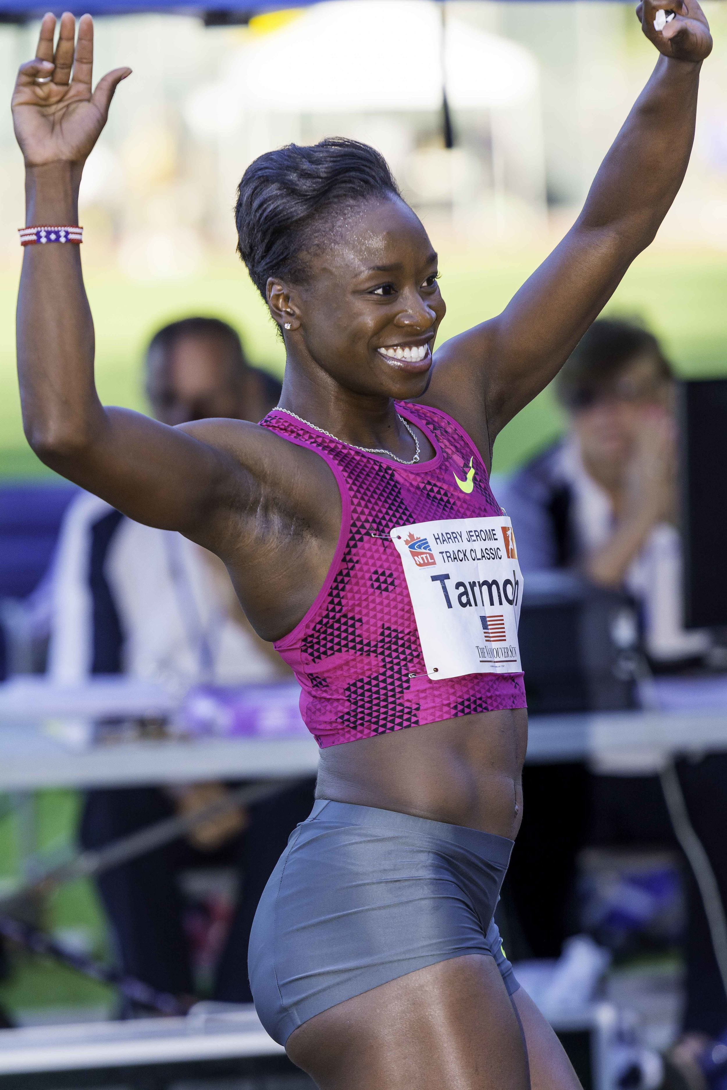 Jeneba Tarmoh celebrates her new meet record