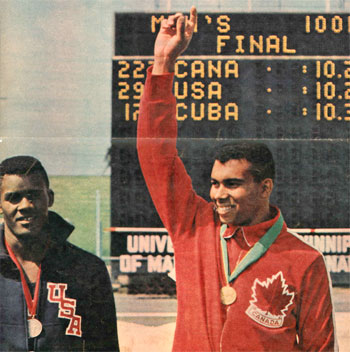 Harry Jerome receives Gold Medal for 100m win (10.2 sec) at 1967 Pan-Am Games in Winnipeg