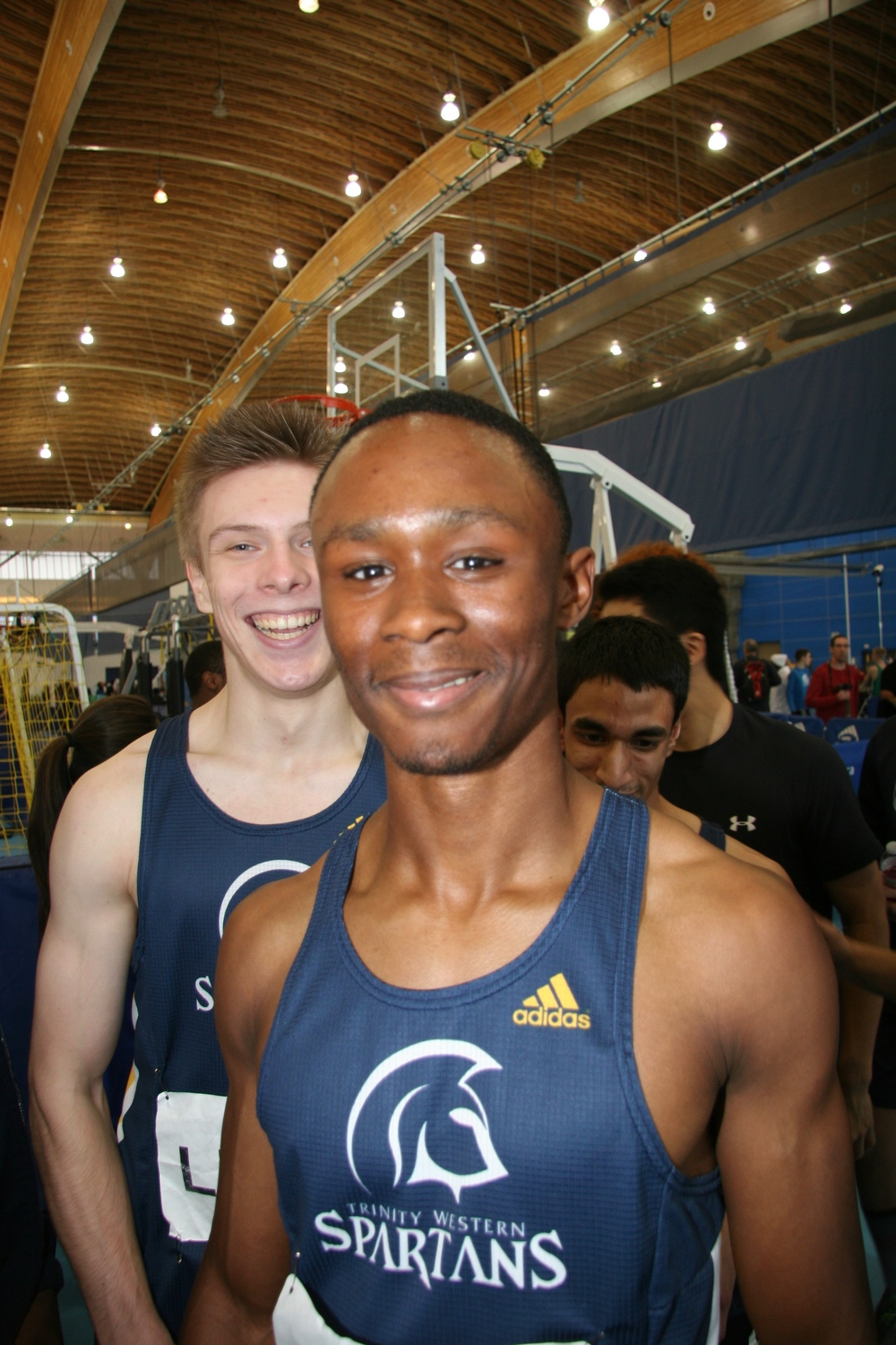 Nathan George  with James Linde behind at 2014 Jerome Indoor