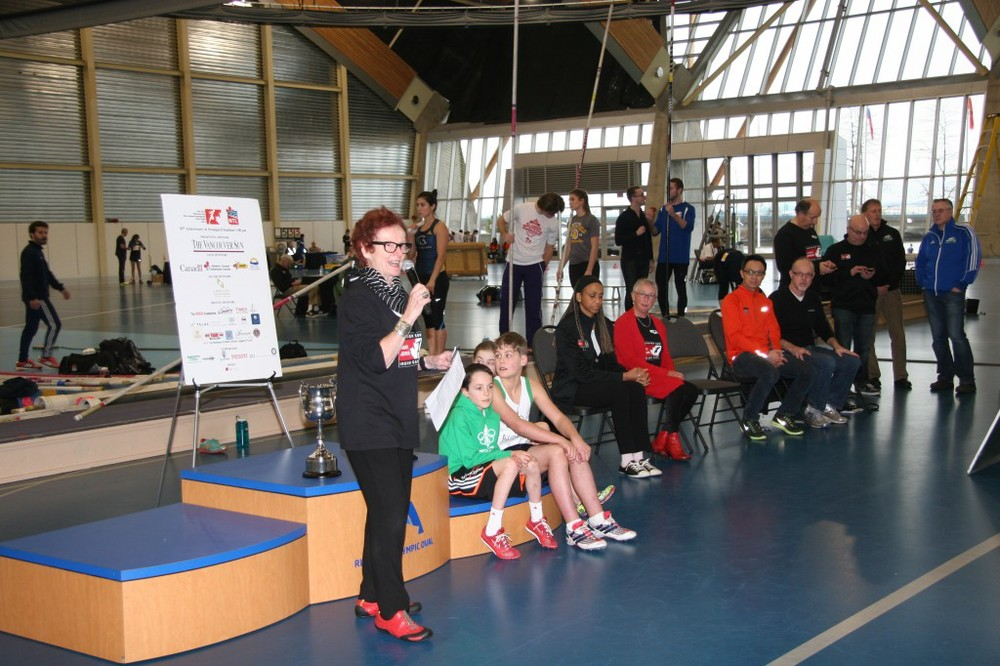 Diane Clement welcomes the athletes during the Opening Ceremonies