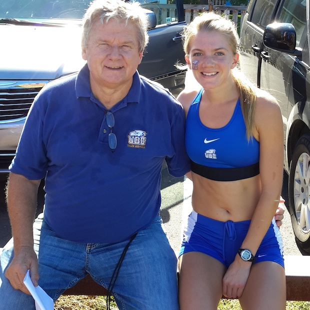 The coffee's on UBC 800-metre runner Stephanie Dacre, who was persuaded to run the spring track season by her head coach Marek Jedrzejek. (UBC athletics photo)
