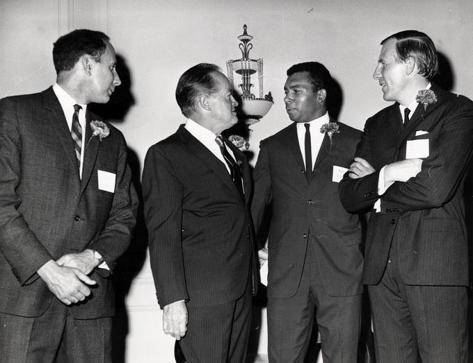 Harry Jerome, right centre speaks will famous contemporaries Bob Hope, Hollywood star, centre left flanked by Dr Roger Bannister, right and John Landy, both world record holders in the mile