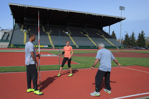 Ashton Eaton, Brianne Theisen-Eaton, Harry Marra, photo by Doug Pensinger/Getty Images for the IAAF