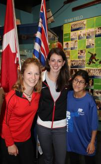 SOBC athletes Tamika Shaw (left) & Suraya Pitalwala (right) with Olympian and SOBC - Burnaby volunteer Jessica Shaw.