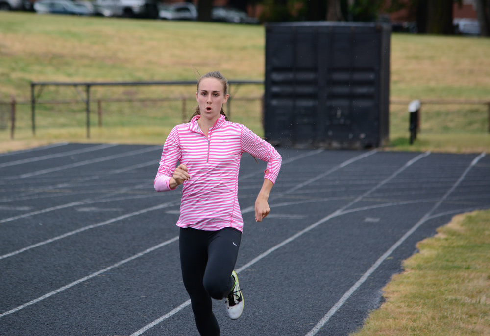Alexa Efraimson of Camas trains at Hudson's Bay High School. The 18-year-old recently ran the fastest 1,500 meters ever by an American woman younger than 20. (Micah Rice/The Columbian)