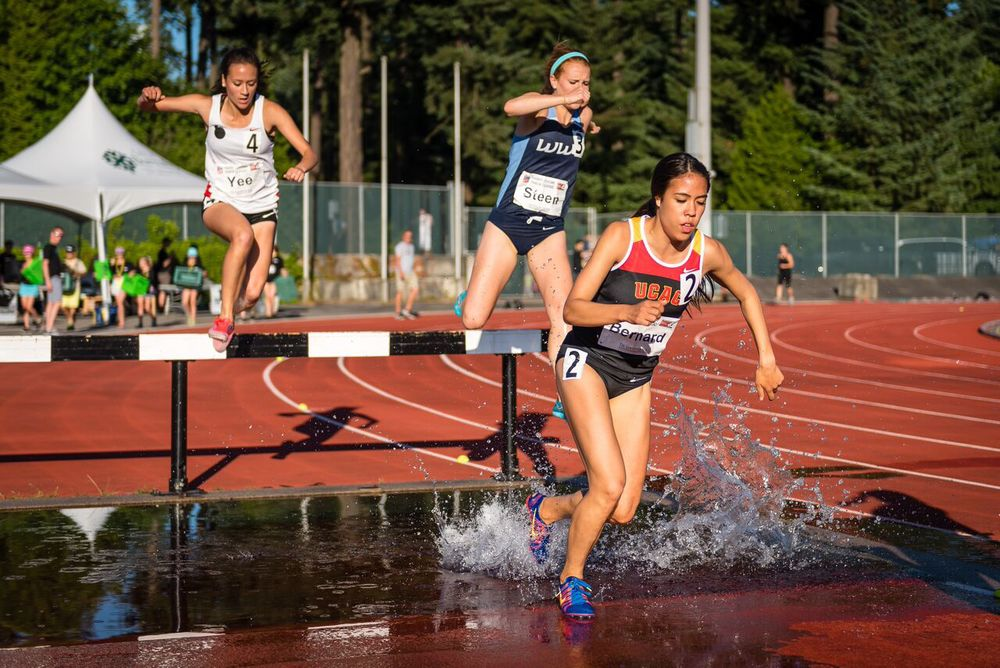 Maria Bernard set meet record in steeplechase  photo by Brian Cliff