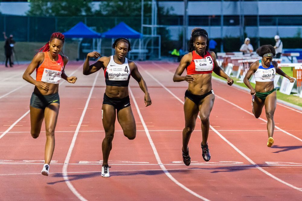 Women's 200m narrow won by Muna Lee on left over Khamica Bingham     photo by Brian Cliff