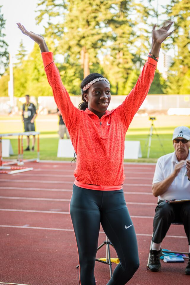 Christabel Nettey set Jerome Classic meet record with her 6.86m   photo by Brian Cliff