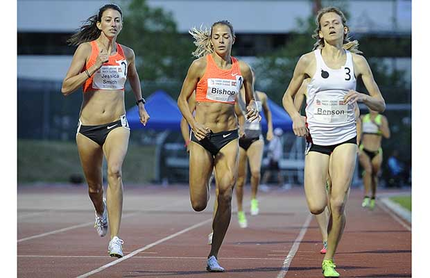 Jessica Smith (far left) wins the women's 800-metre race, at the Harry Jerome Track Classic at Burnaby's Swangard Stadium on Monday.  Photograph by: Mark van Manen , PNG