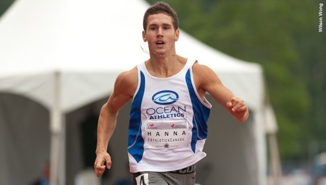 Jake Hanna now a freshman at UBC spent the entire 2015 years on the injured list, so this competition will be his first for over 15 months.  Jake holds the U18 meet record for 300m with 36.52 set in 2013. He will be aiming at the open record of 35.32 seconds also held by Nathan George of TWU.  Jake has best of 21.75 for 200m and 48.25 in the 400m during his grade 11 year at Elgin Park Secondary.