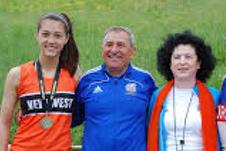 Nina with coaches Besnik and Tatiana Mece