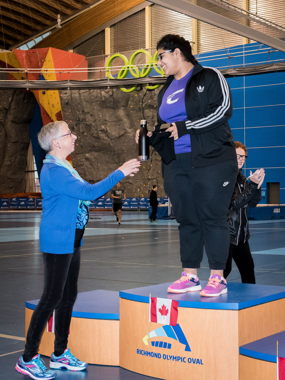 Gabriel Dolly with Olympian, Anne Cliff         Photo by: Brian Cliff