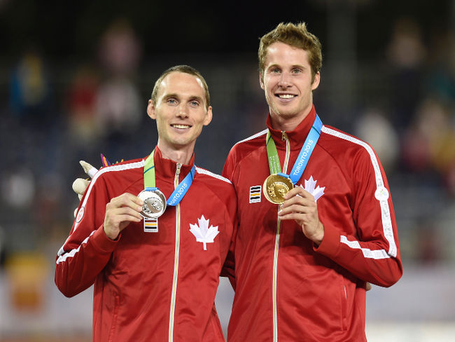 Mike Mason on left with Derek Drouin at 2015 Pan Am Games