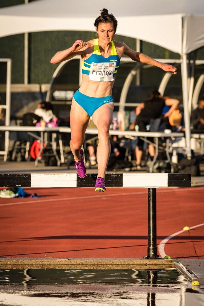 Bridget Franek breaks meet record in 3000m steeplechase  photo by Brian Cliff
