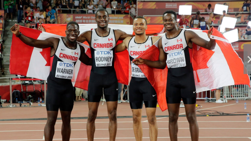 from left Justyn Wariner, BrendonRodney, Andre De Grasse and Aaron Brown