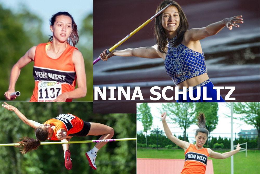 New Westminster's Nina Schultz'98 is now a frosh at Kansas State this year and came 6th in the World U20 Championships in Bydgoszcz, Poland last summer with a personal best of 5639 points. She competed at the 2015 World U18 Championships in Cali, Columbia.