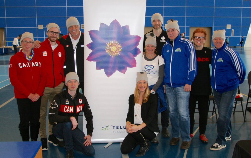 from left Olympians: Anne Cliff'64, Inaki Gomez'12+'16, John Hawkins'72, Ben Thorne'16, Jen Hopp, TELUS, Lynn Kanuka'84+88, Chris Winter'16, Greg White BC Athletics Chair, Diane Clement'56, Jim Hinze BC Athletics Vice Chair