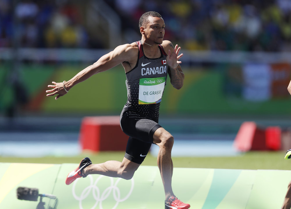 Andre De Grasse became an international sensation during last year's Olympic Summer Games in Brazil. De Grasse will be among the competitors taking part in this year's Harry Jerome Track Classic, which moves from Burnaby to Coquitlam's Percy Perry Stadium.   Photograph By ATHLETICS CANADA PHOTO
