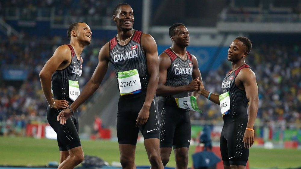 Andre De Grasse, Brendon Rodney, Aaron Brown, Akeem Haynes at 2016 Rio Olympics
