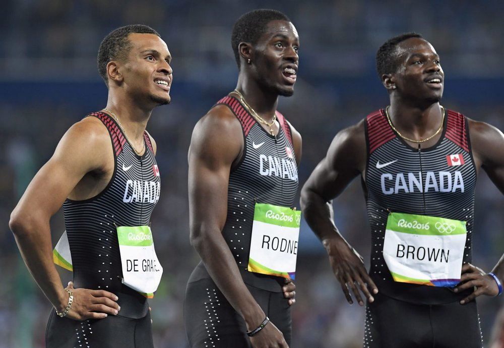 Andre De Grasse, Brendon Rodney and Aaron Brown