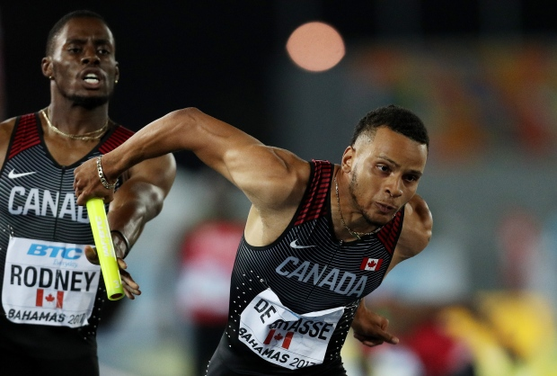 A more bulked-up-looking De Grasse helped his Canadian team win the 4x200m gold at last weekend's IAAF World Relays. (Patrick Smith/Getty Images for IAAF)