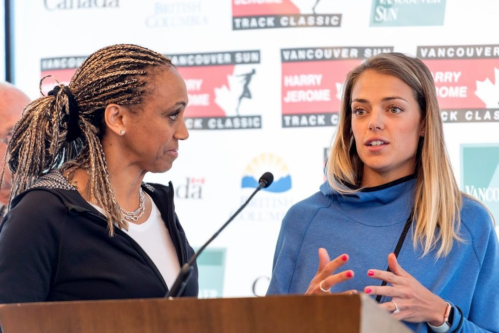 Charmaine Crooks, former Canadian 800m record holder interviews Melissa Bishop at 2016 Vancouver Sun Harry Jerome media conference at Fairmont Pacific Rim Hotel photo credit: Brian Cliff