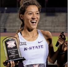 Nina Schultz is named the high point scorer after the Big 12 Outdoor Track and Field Championships.