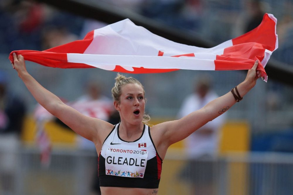 Liz Gleadle wins gold medal in the javelin at Pan American Games in 2015