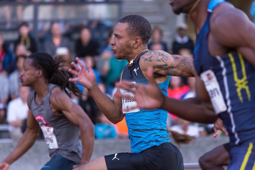 Andre De Grasse wins at 2016 Jerome Track Classic                     photo by Michael Basile