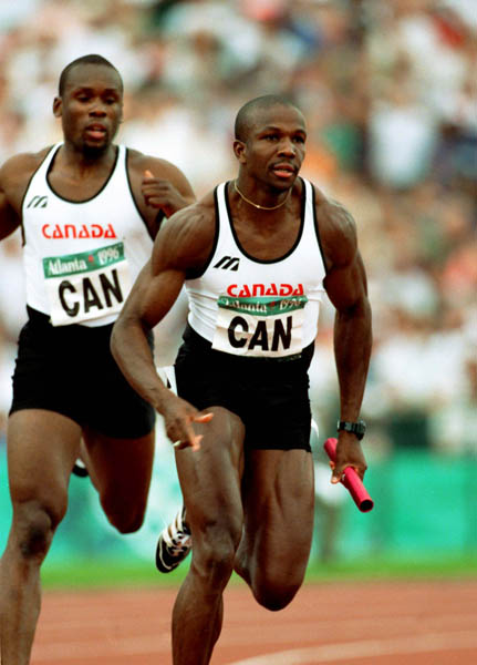from left, Gold Medalists,  Bruny Surin and Donovan Bailey 1996 Olympic Games